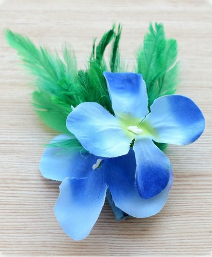 Pretty Ponytails Flower Applique Hair Clip - Blue & Green