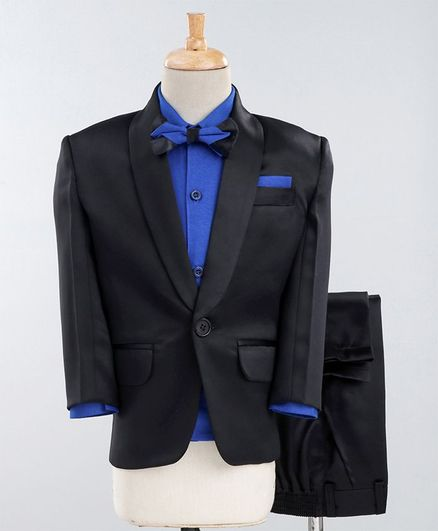 Jeet Ethnics Full Sleeves Three Piece Party Suit With Bow Tie - Black