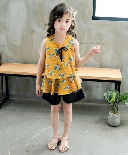 Pre Order - Awabox Sleeveless Flower Print Top With Shorts - Yellow & Black