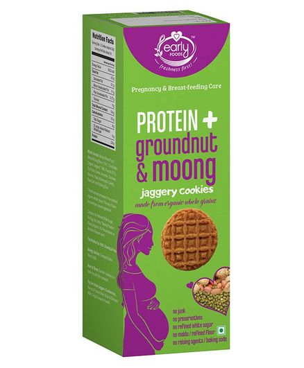 Early Foods Organic Groundnut & Moong Jaggery Cookies Prenatal - 150 gm