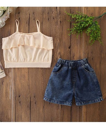 Pre Order - Awabox Sleeveless Solid Top With Denim Shorts - Peach & Blue