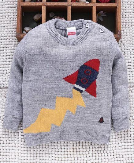 Babyhug Full Sleeves Sweater Rocket Design - Grey
