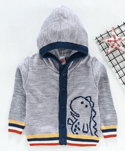 Babyhug Full Sleeves Hooded Sweater Dino Design - Light Grey