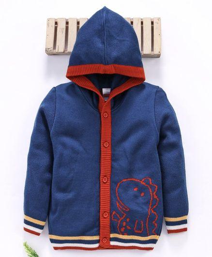 Babyhug Full Sleeves Hooded Sweater Dino Design - Navy Blue
