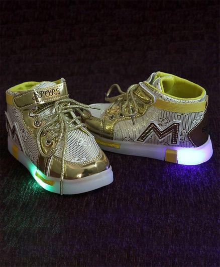 Passion Petals M Patch Lace Closure Led Shoes - Golden