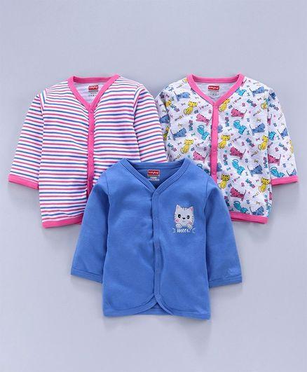 Babyhug Full Sleeves 100 % Cotton Vests Multi Print Pack of 3 - Multicolor