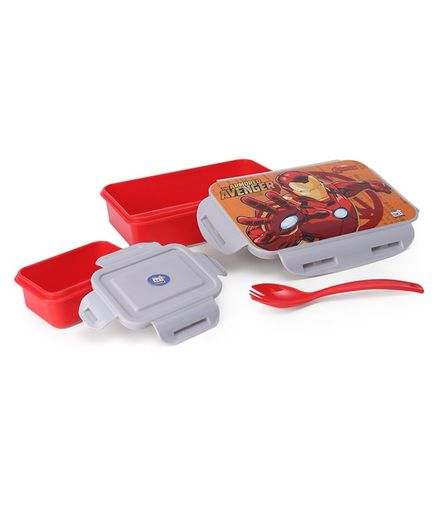 Marvel Avengers Lunch Box With Container & Fork Spoon - Red Grey