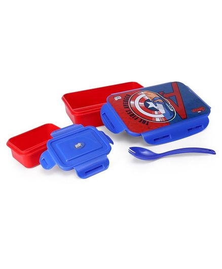 Marvel Avengers Lunch Box With Container & Fork Spoon - Red Blue