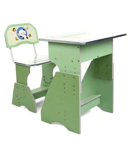 Kids Study Table With Chair Cartoon Print - Green