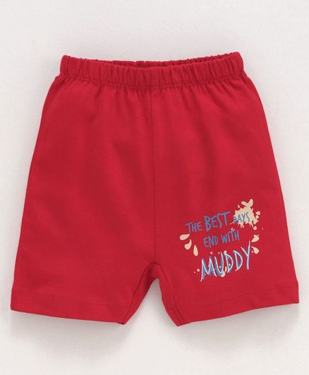Ohms Knee Length Shorts Text Print - Red