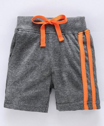 Ohms Knee Length Shorts With Drawstring - Grey