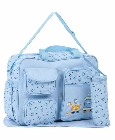 Diaper Bag With Changing Mat And Bottle Cover Bear Embroidery - Blue