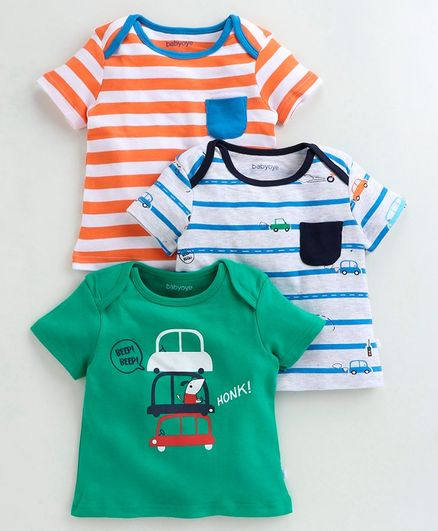 Babyoye Cotton Printed T-Shirt Pack of 3 - Green
