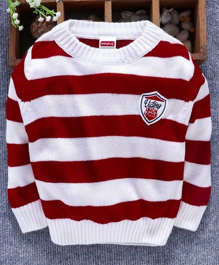 Babyhug Full Sleeves Striped Sweater - Red