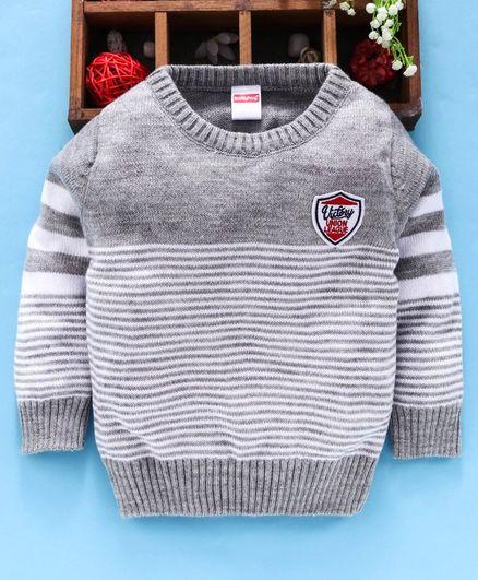 Babyhug Full Sleeves Sweater Striped Pattern - Grey