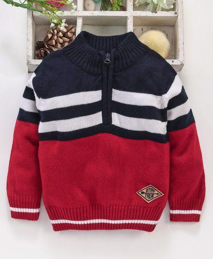 Babyhug Full Sleeves Striped Sweater - Navy Red