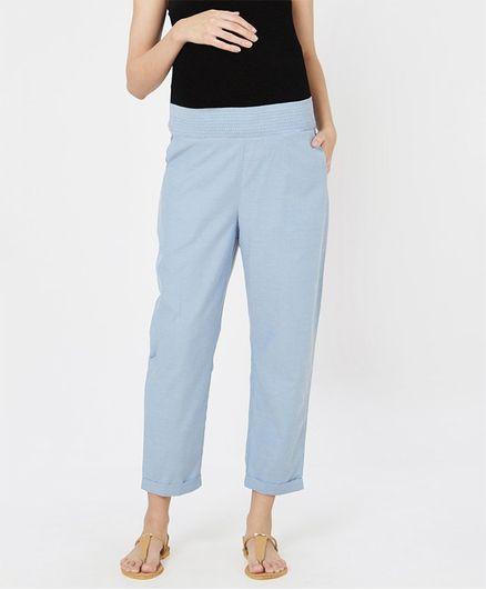Mystere Paris Solid Elasticated Lounge Pants - Blue