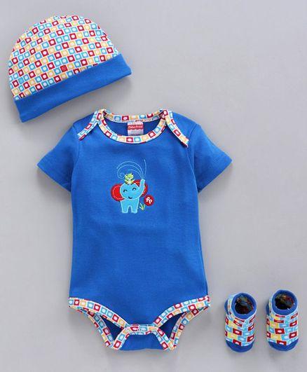 Fisher Price Cap Booties & Body Suit Giraffe Print - Dark Blue