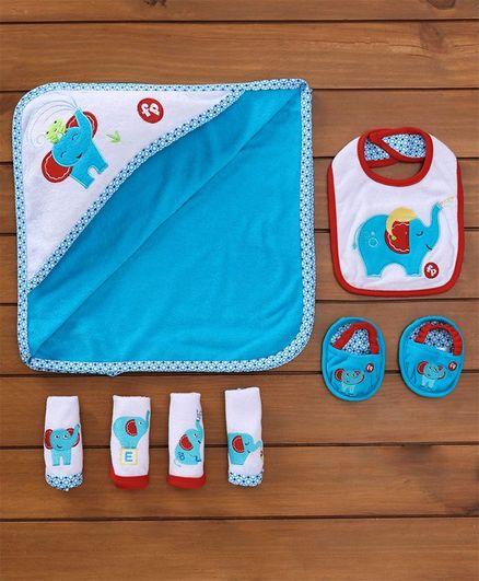 Fisher Price Towel Napkins Set Bibs Booties Set Elephant Print Set Of 7 - Blue