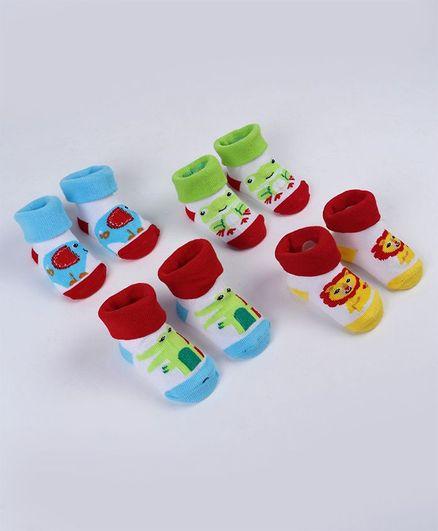 Fisher Price Socks 4 Pairs Animal Print - Multicolor