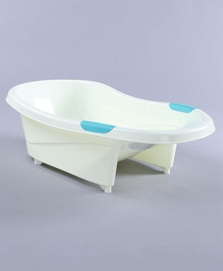 Babyhug Baby Bath Tub Bear Print - Cream and Blue