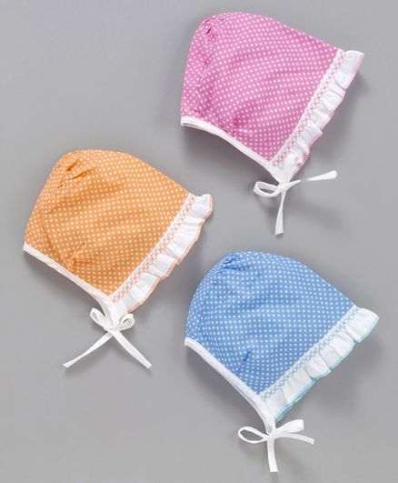 Babyhug Bonnet Caps Pack of 3 - Pink Orange Blue