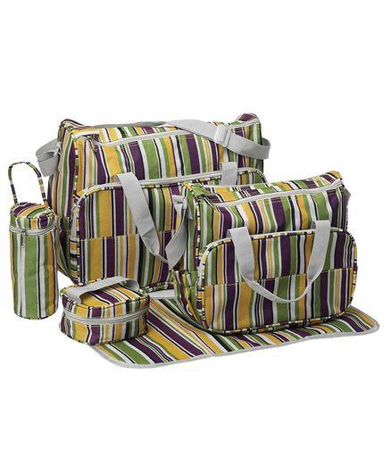 Luvlap Jasmine Diaper Bag Multipurpose Waterproof Maternity Shoulder Cum Hand Bag Green - 5 Pieces