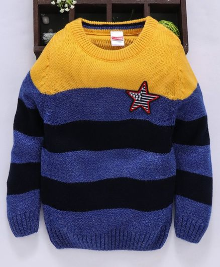 Babyhug Full Sleeves Striped Sweater Star Patch - Yellow Blue