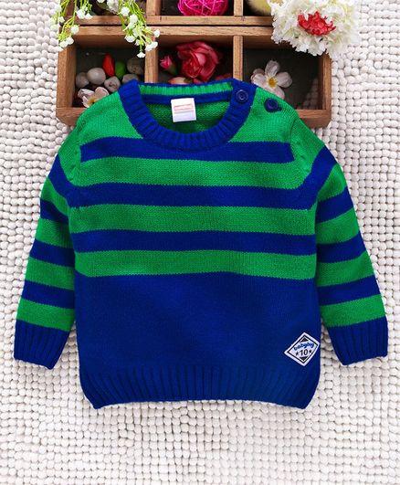 Babyhug Full Sleeves Stripe Acrylic Sweater - Green Blue
