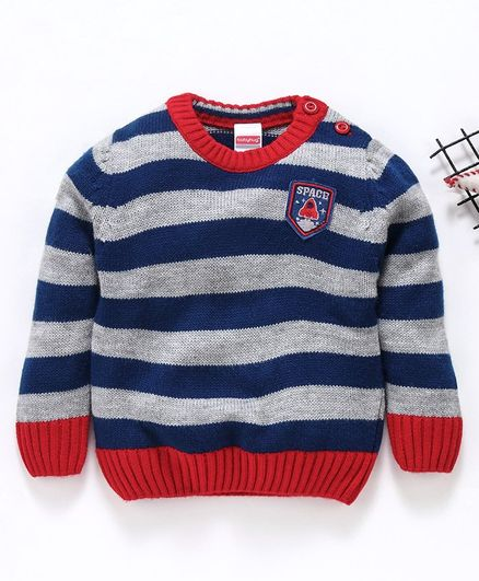 Babyhug Full Sleeves Striped Sweater Space Patch - Blue Red