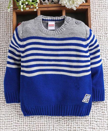 Babyhug Sleeveless Sweater Stripes Design - Grey Blue