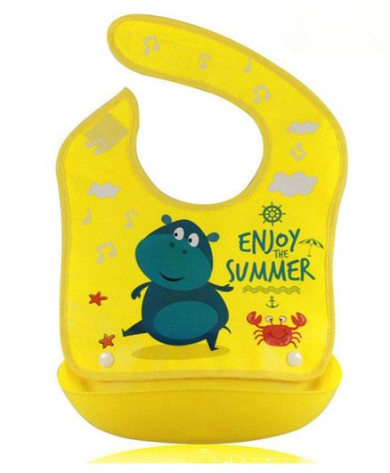 Syga Waterproof Silicone Roll up Bib With Crumb Catcher (Colours & Designs May Vary)