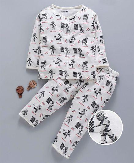 Doreme Full Sleeves Night Suit Robot Print - White