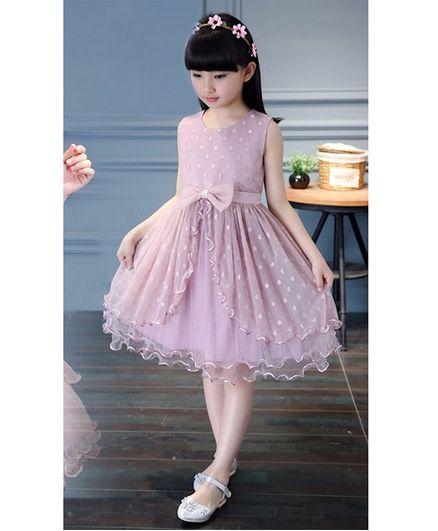 Pre Order - Awabox Embroidered Sleeveless Net Dress - Pink