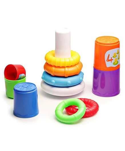 Baybee Infunbebe 2 in 1 Stacking Cups & Stacking Ring - Multicolor