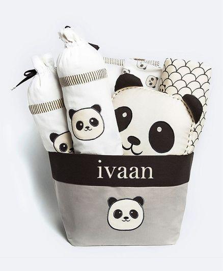 Masilo Peekaboo My Crib Gift Basket Panda Print - White Black