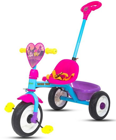 Baybee Flasher Baby Tricycle With Parent Push Handle - Pink