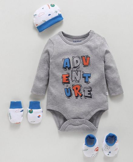 Babyoye Cotton Clothing Gift Set of 4 - Grey