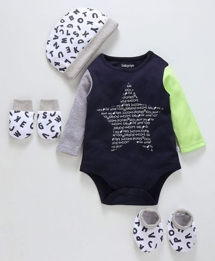 Babyoye Cotton Clothing Gift Alphabet Print Set of 4 - Navy