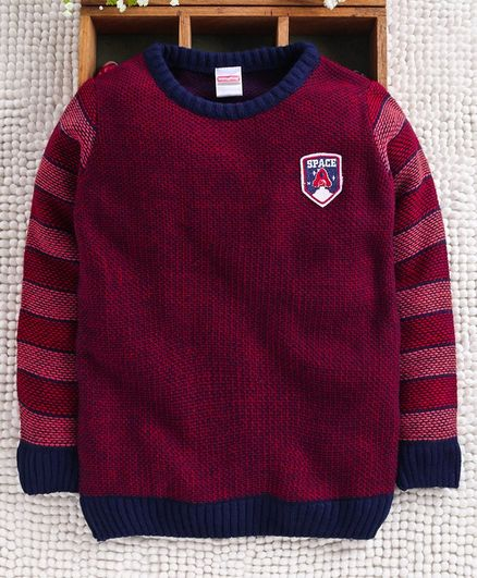 Babyhug Full Sleeves Sweater Space Patch - Red