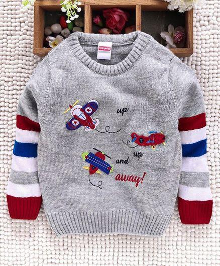 Babyhug Full Sleeves Sweater Aeroplane Patch - Grey
