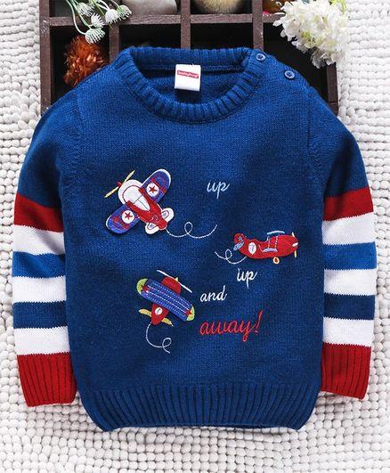 Babyhug Full Sleeves Sweater Aeroplane Patch - Royal Blue