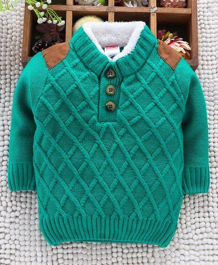 Babyhug Full Sleeves Sweater Diamond Design - Green