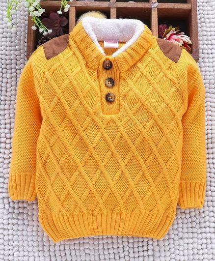 Babyhug Full Sleeves Sweater Diamond Design - Yellow