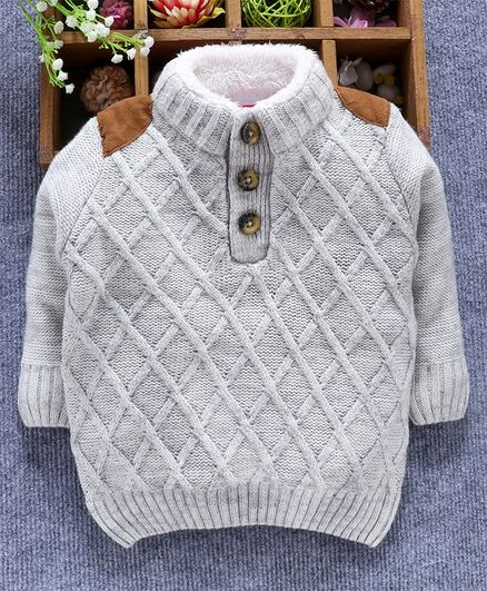 Babyhug Full Sleeves Sweater Diamond Design - Grey Melange