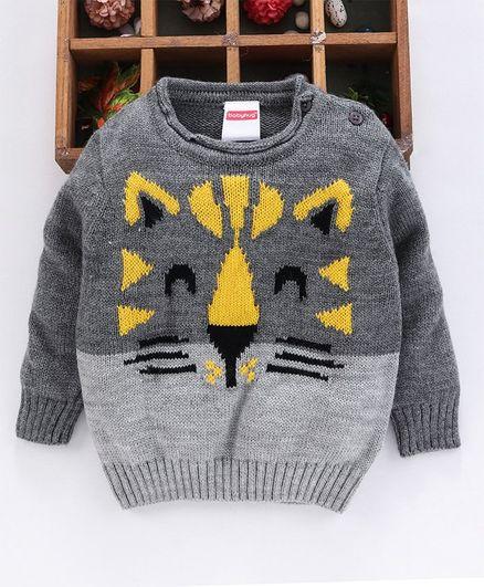 Babyhug Full Sleeves Sweater Tiger Design - Grey