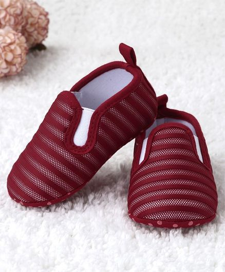 Kidlingss Slip On Style Striped Booties - Red