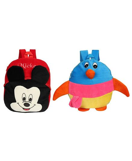 O Teddy Plush Fish & Mickey Mouse School Bag Pack of 2 Multicolor - Height 15 Inches