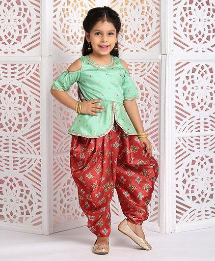 Babyhug Half Sleeves Printed Kurta & Dhoti Set - Green Red