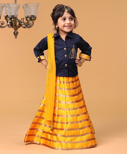 Babyhug 3/4th Sleeves Choli With Striped Lehenga & Dupatta Embellished - Navy Yellow